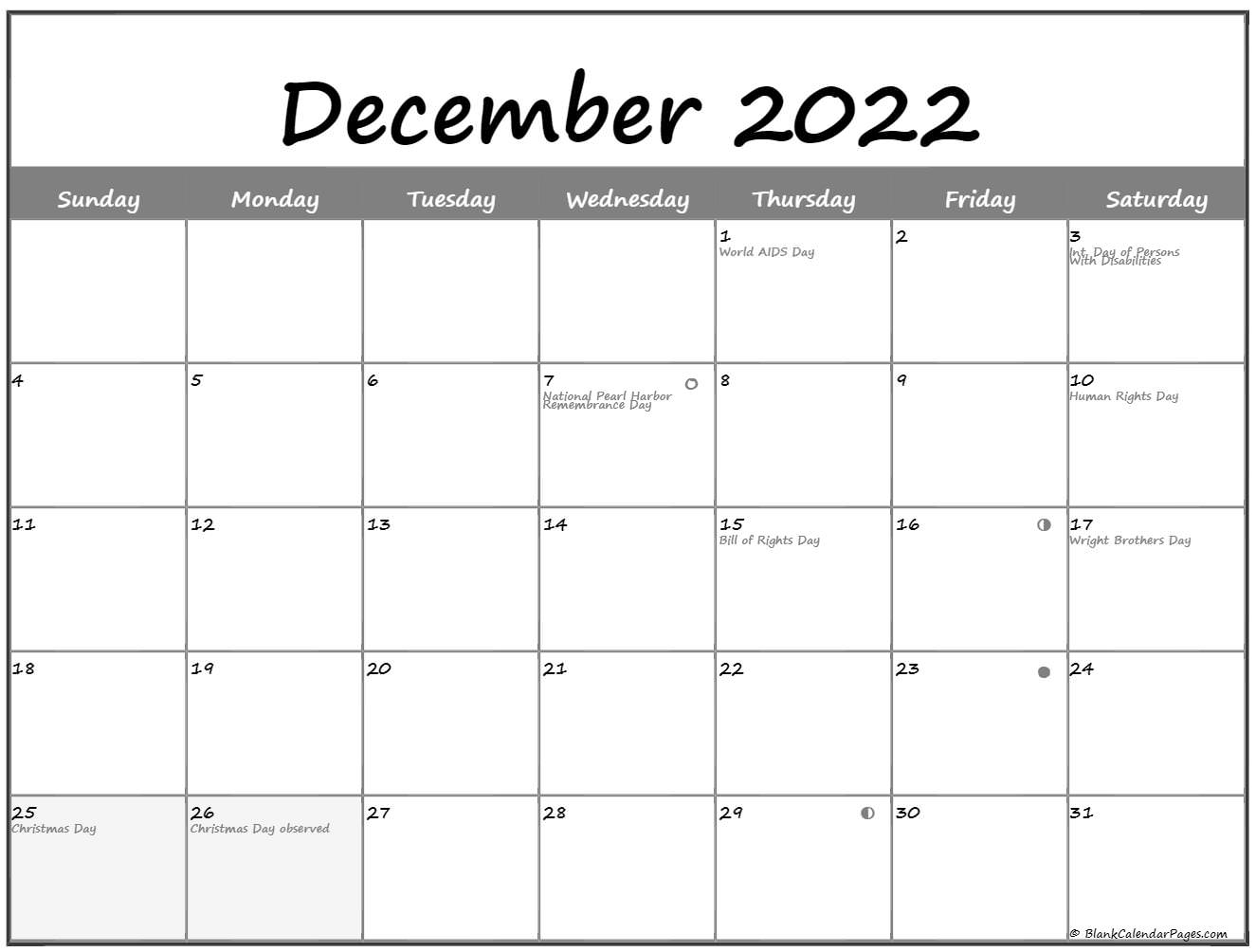 December 2022 Lunar Calendar   Moon Phase Calendar