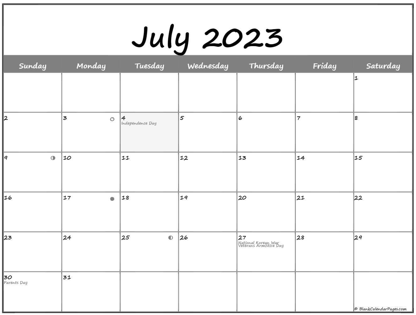 July 2022 Lunar Calendar | Moon Phase Calendar