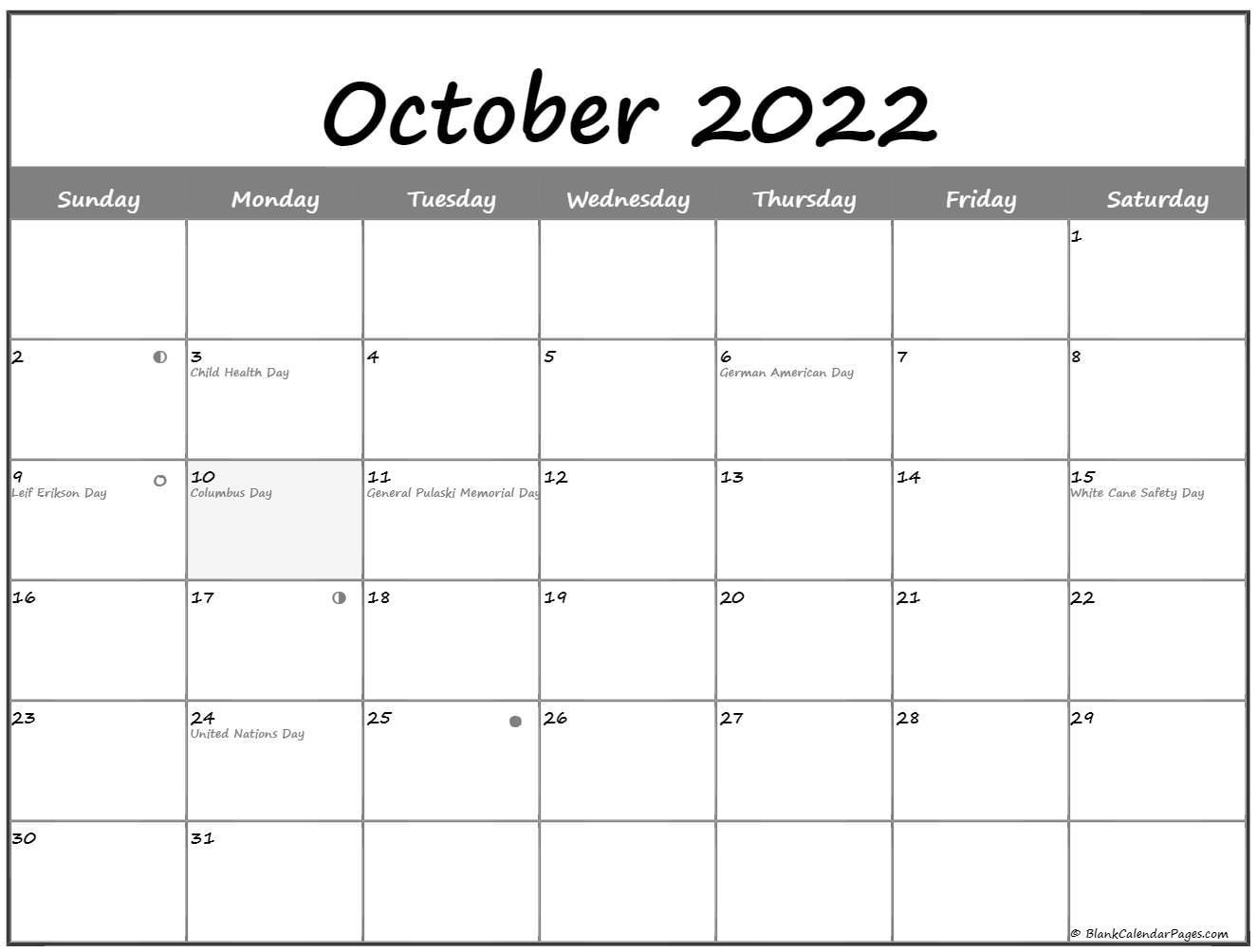 October 2022 Lunar Calendar   Moon Phase Calendar