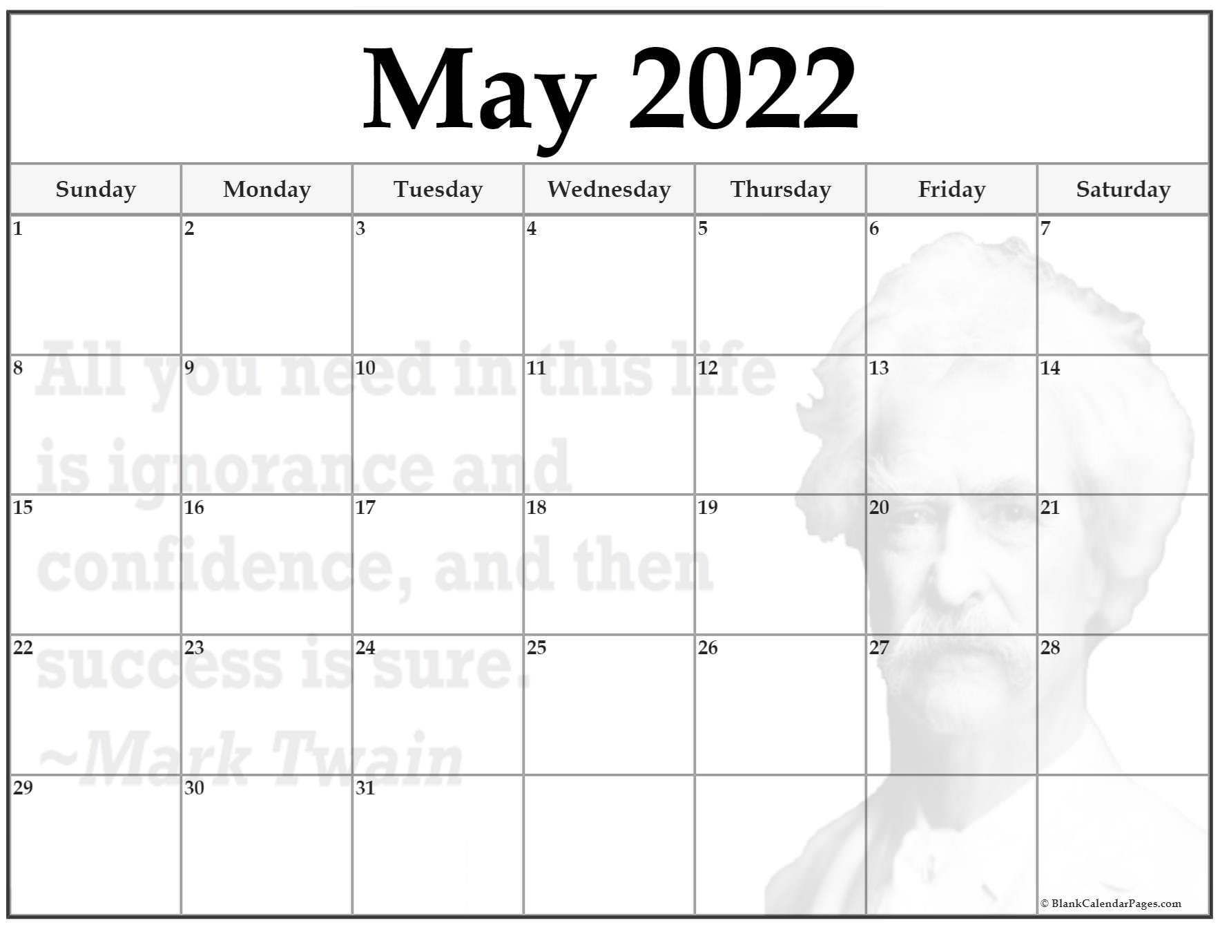 A landscape layout, blank may 2022 calendar pdf template with large notes space at the bottom. 24+ May 2022 quote calendars