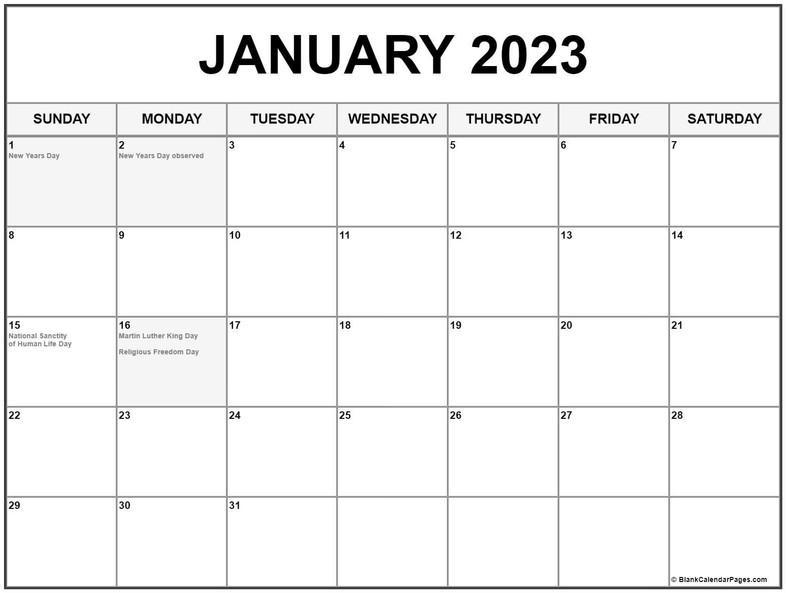 January 2022 with holidays calendar