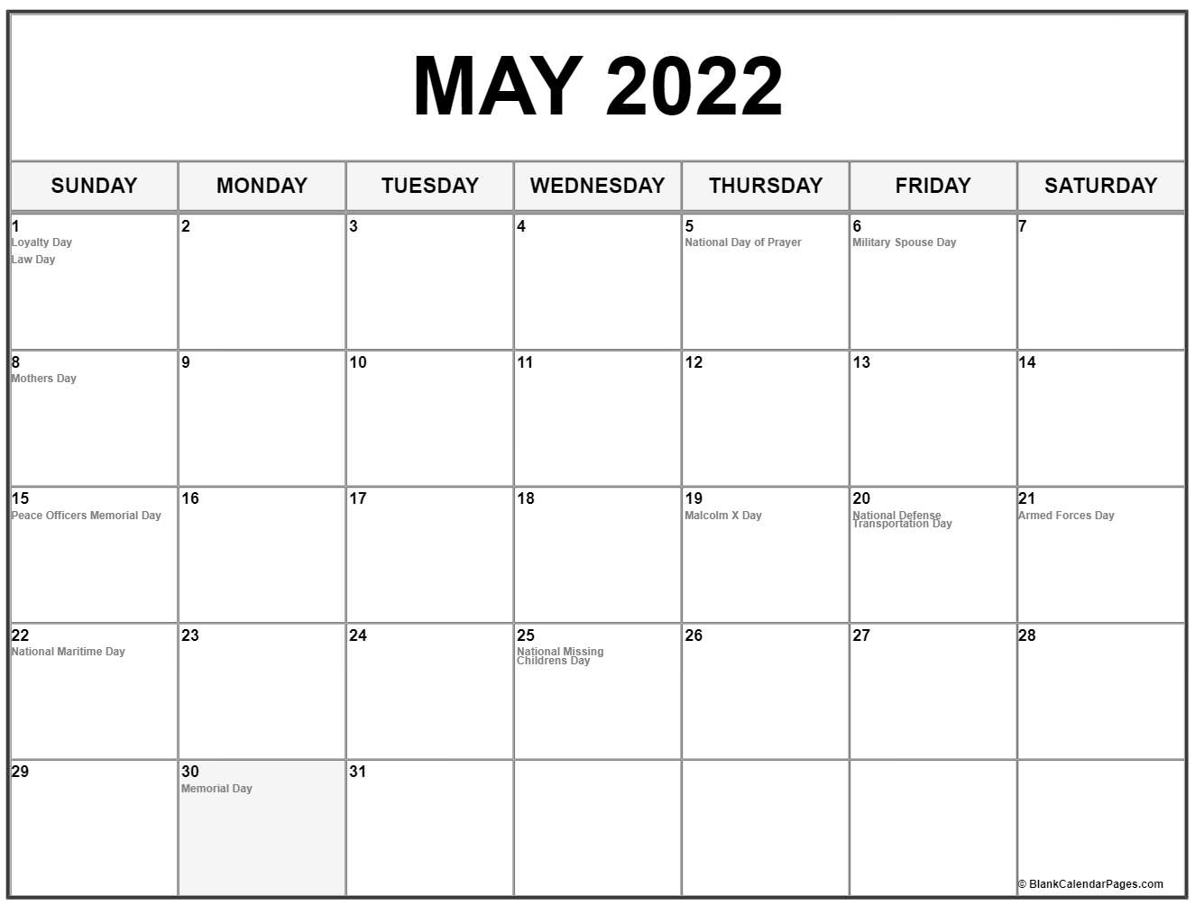 Collection Of May Calendars With Holidays