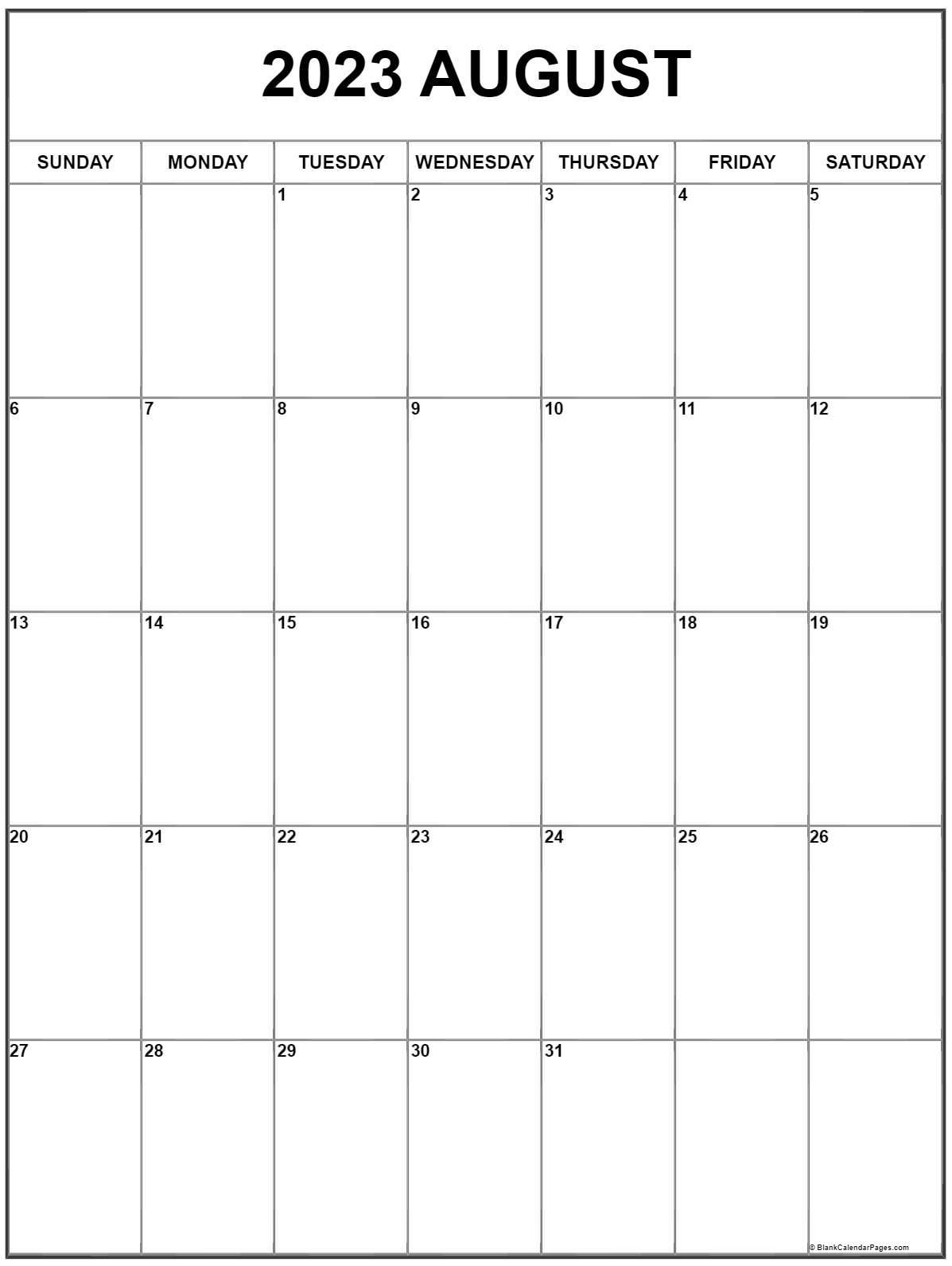 August 2022 Vertical Calendar | Portrait