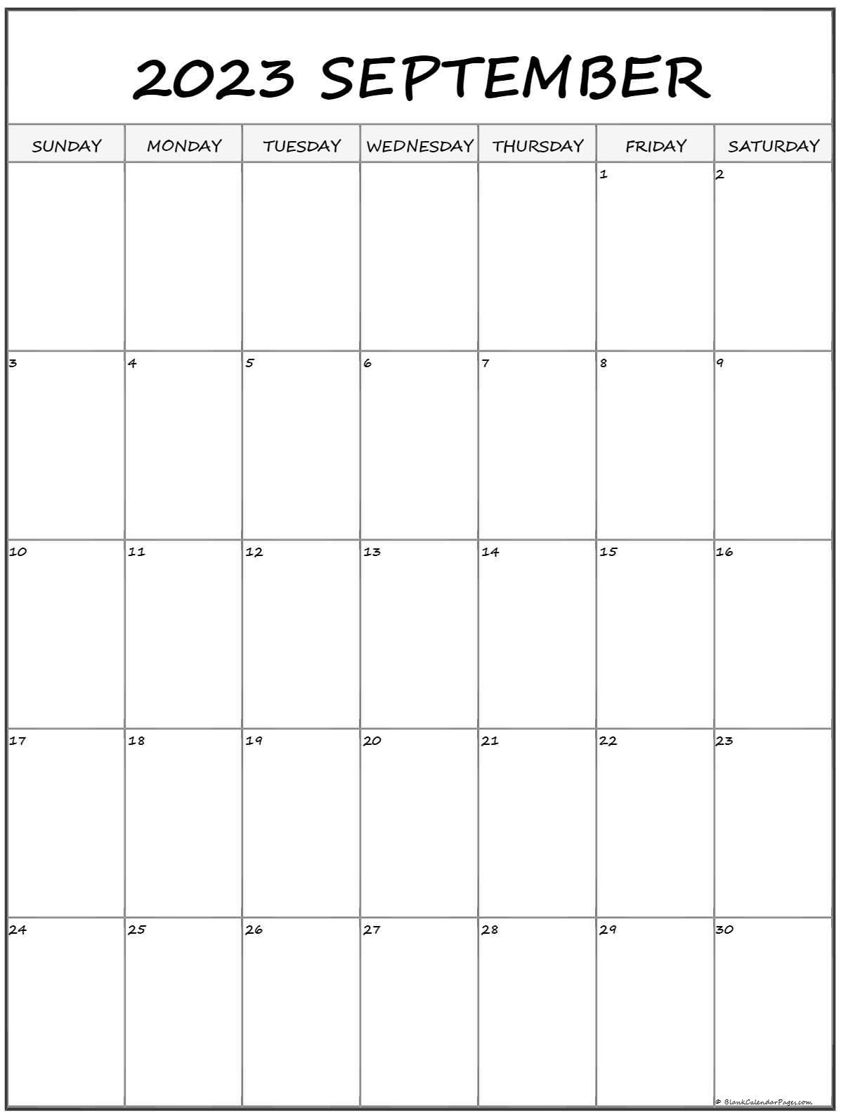 September 2022 Vertical Calendar | Portrait