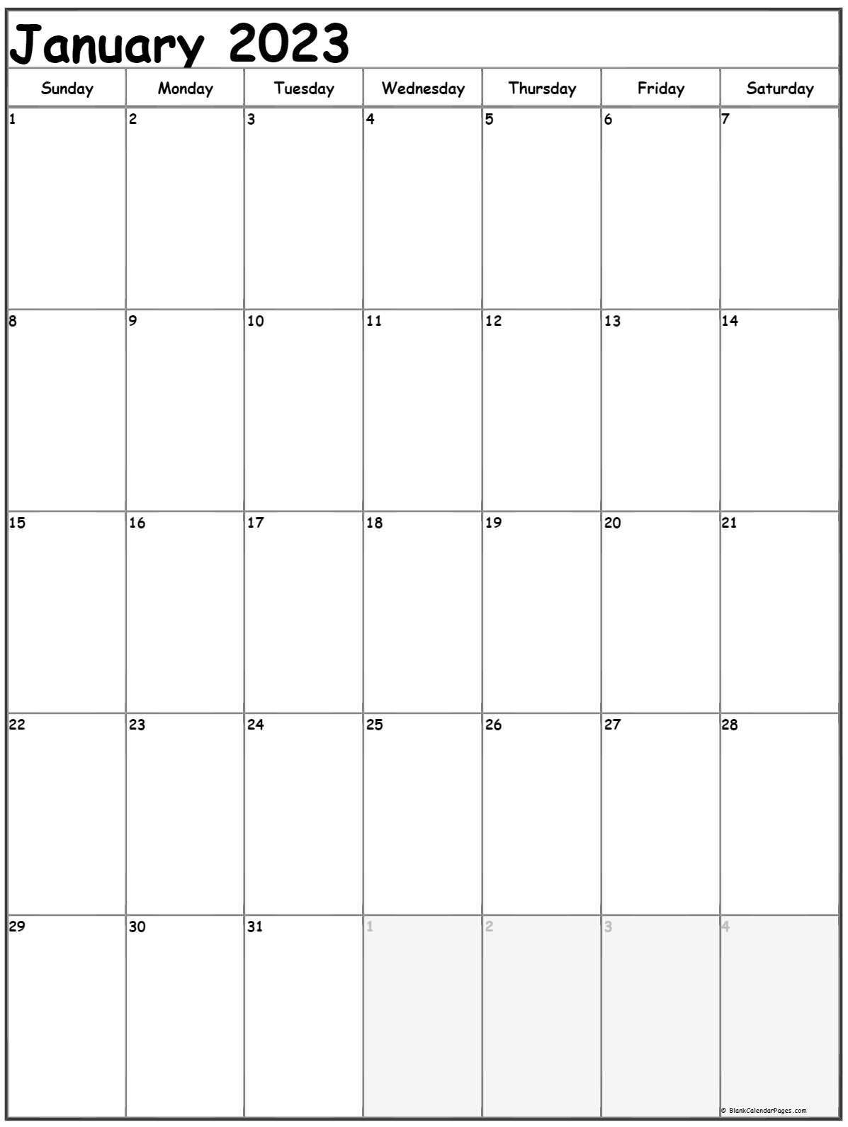January 2022 Vertical Calendar | Portrait