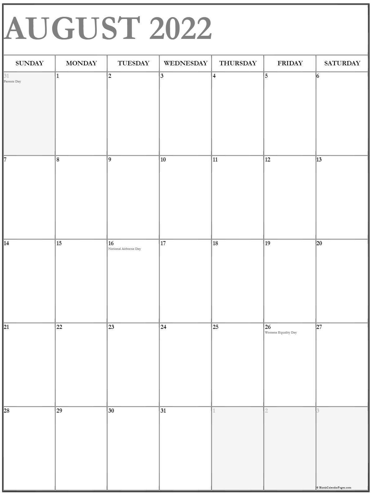 Download a free, printable calendar for 2021 to keep you organized in style. August 2022 Vertical Calendar   Portrait