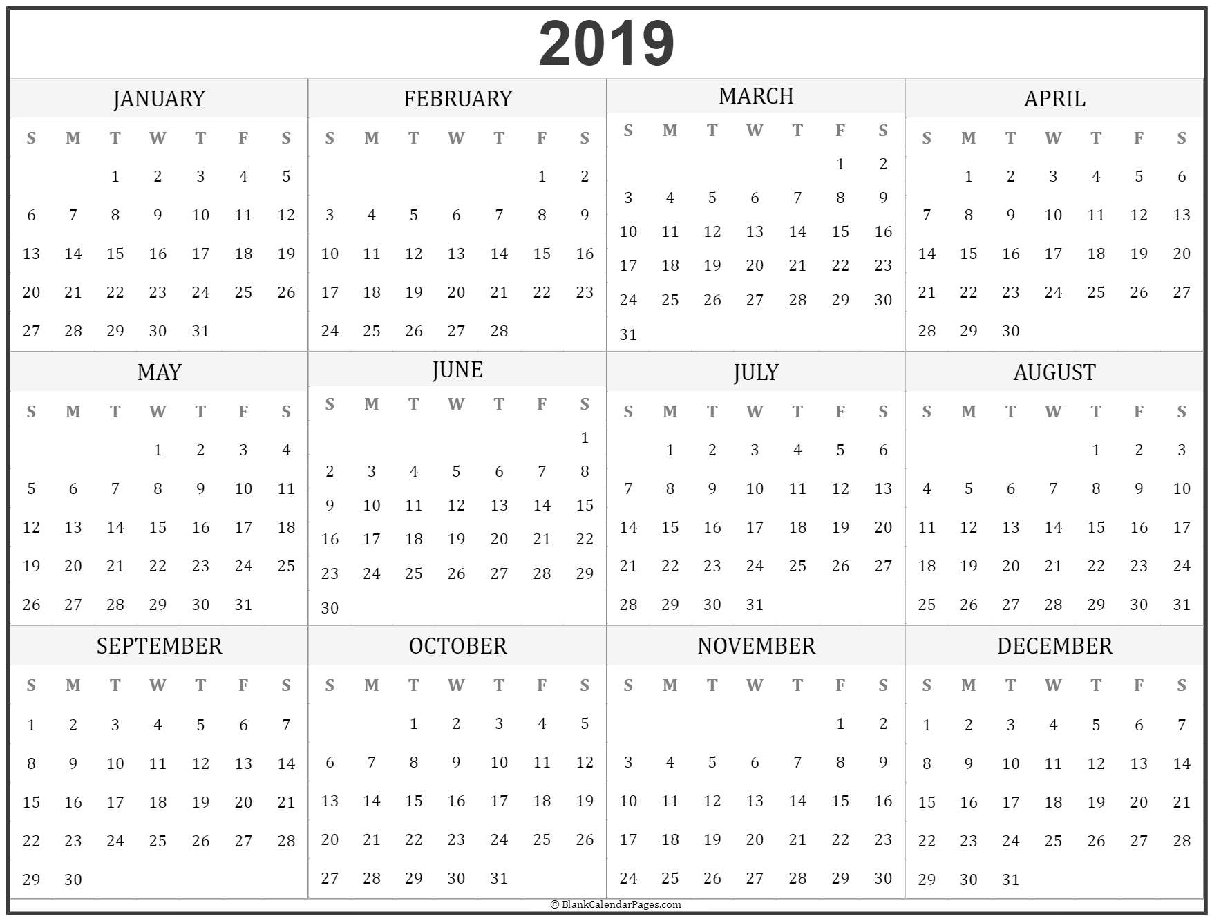 yearly calendar print out