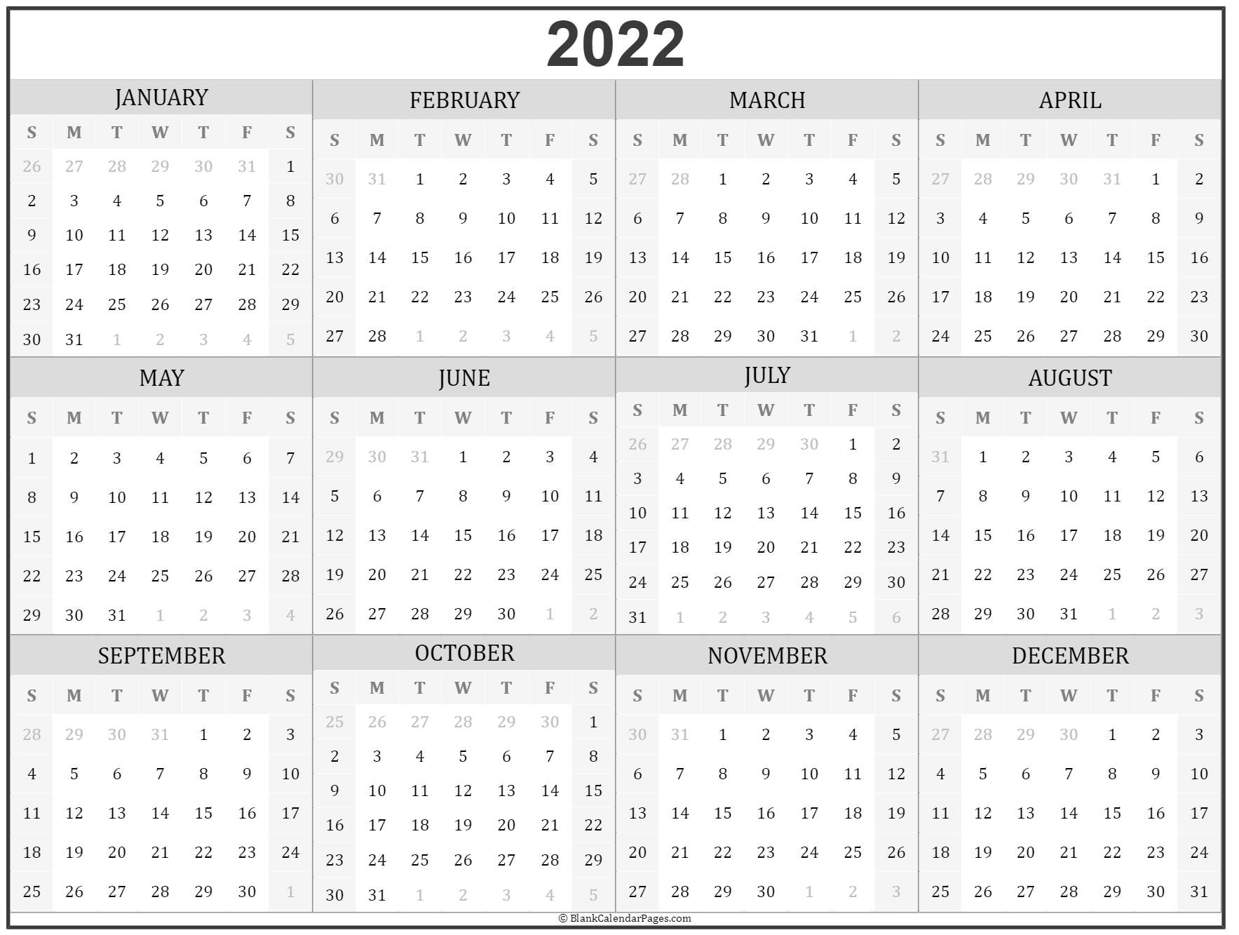 Easy to download and print, our templates are simple and stylish. 2022 year calendar | yearly printable