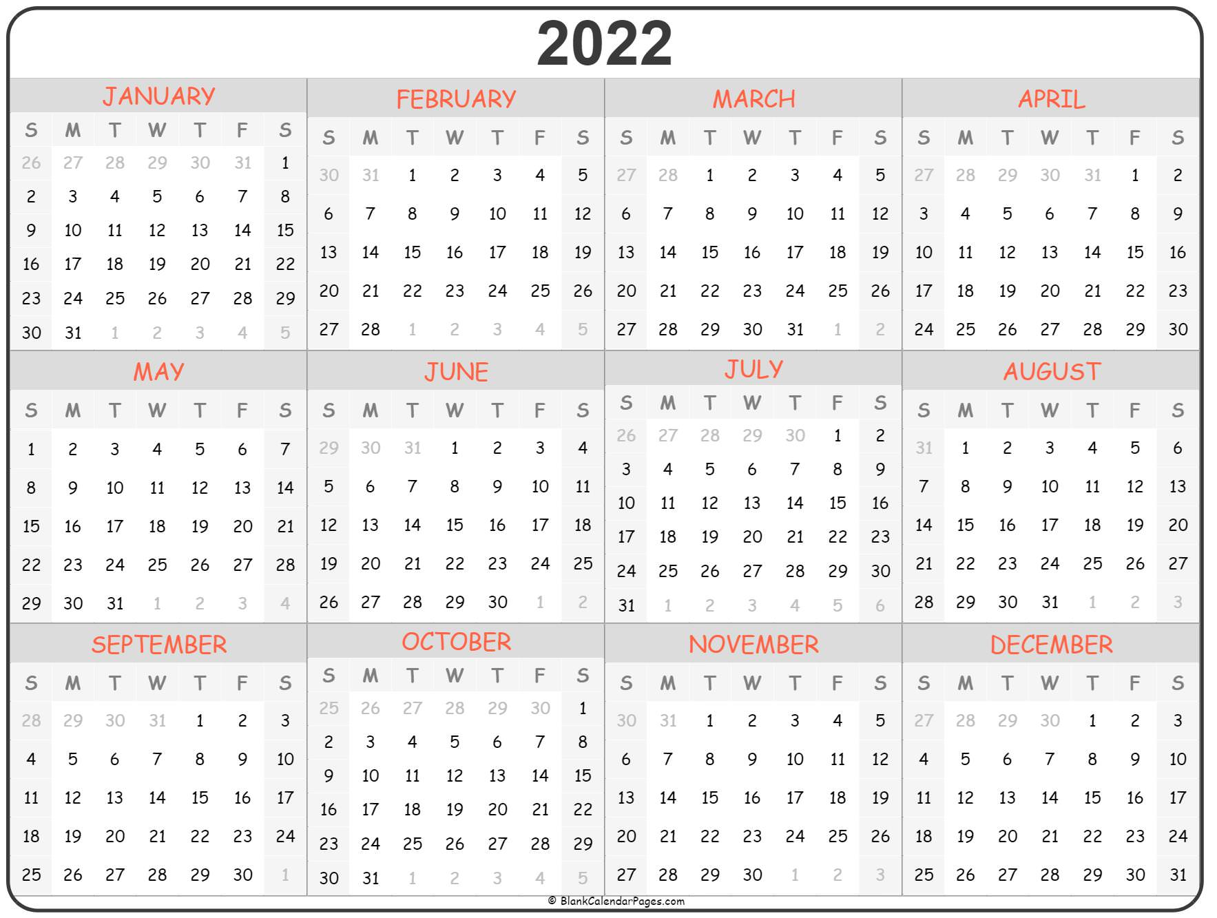 2022 year calendar | yearly printable