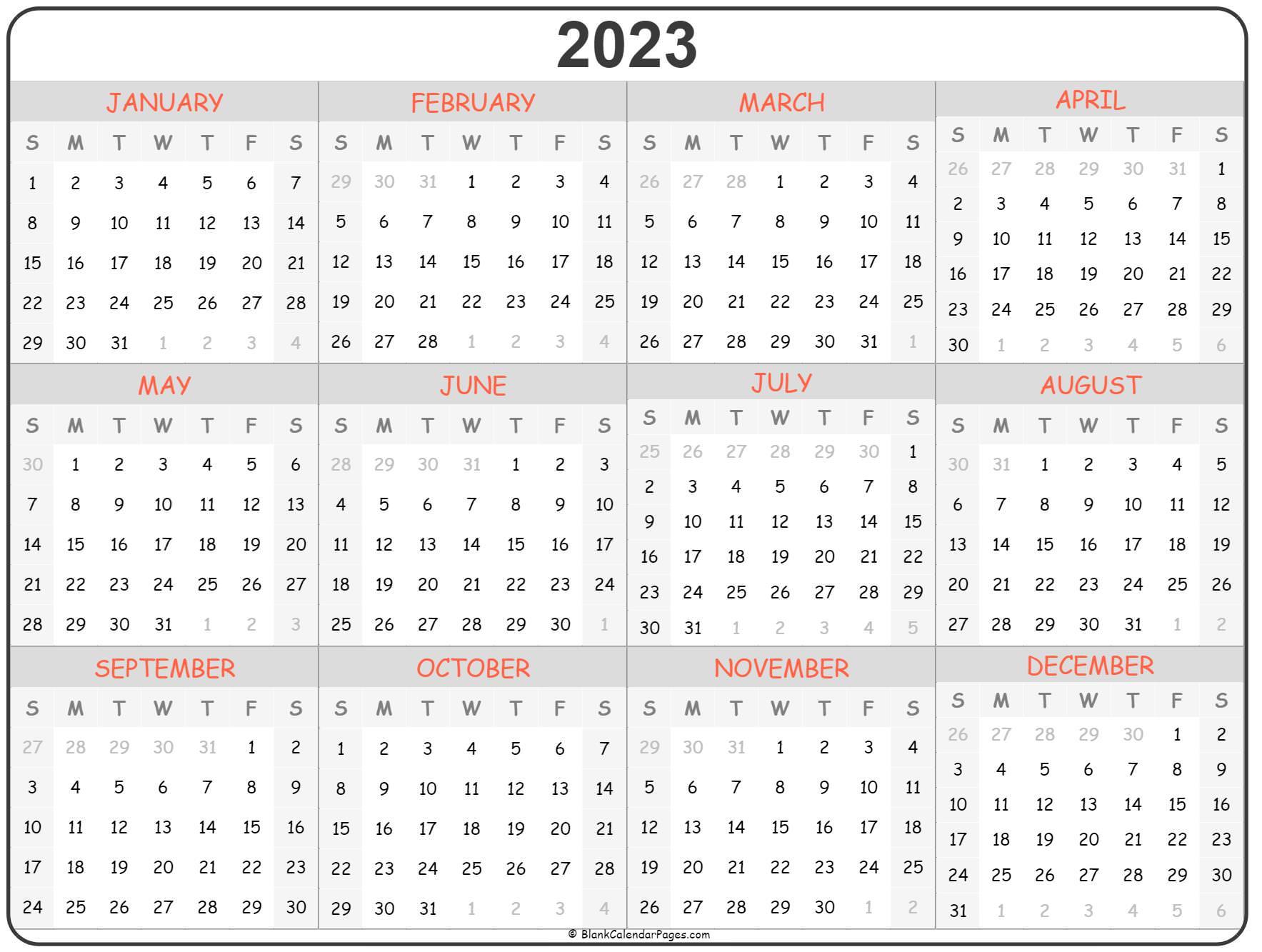 2023 year calendar   yearly printable