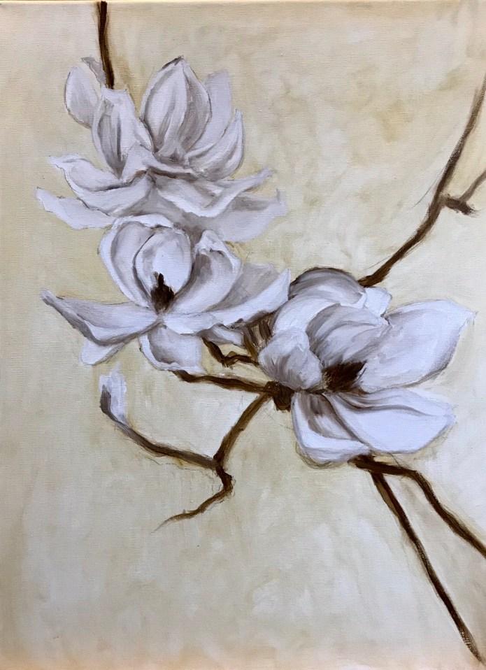 The beginning of Magnolias in oil