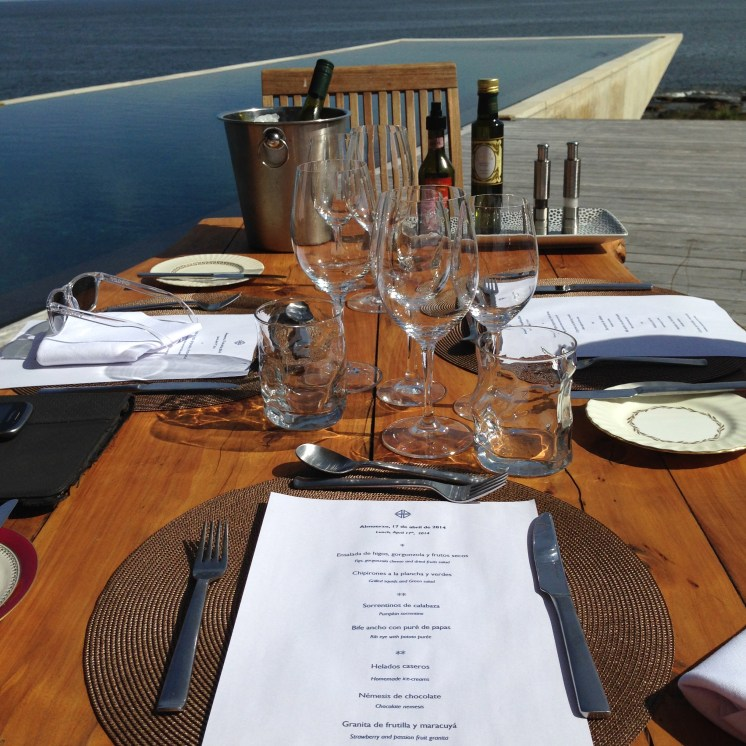 Our table setting by the pool and ocean at Playa Viik