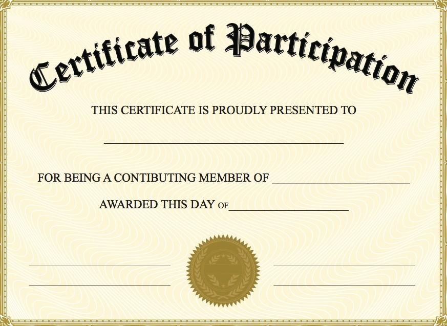free printable participation certificates