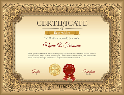 Fancy Certificate Template Vector Gallery Certificate