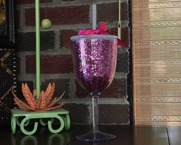 Pink Glitter Wine Glass