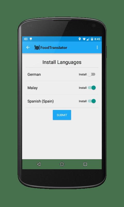 FoodTranslator Install Language