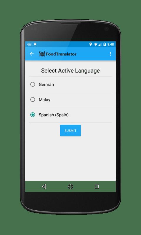 FoodTranslator Select Languages