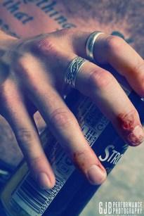 No pain, no gain. Post gig close-up.