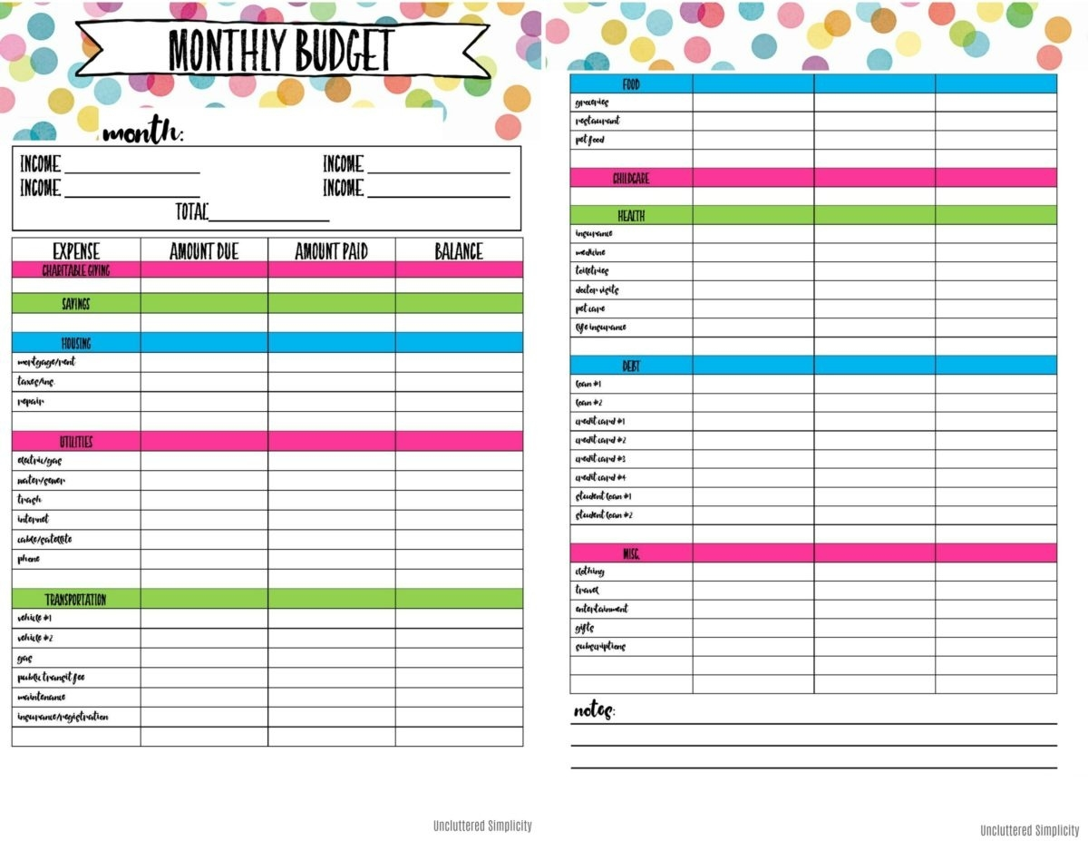 Free Printable Budget Planning Worksheets Blank Calendar