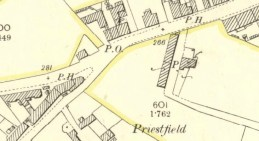 1898 Map showing High Blantyre Post Office