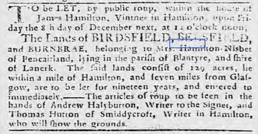 1769 Bellsfield and Birdsfield for sale
