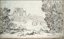 1799 Bothwell Castle from Blantyre Priory. Sketch by John Claude Nattes