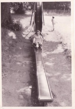 1971 Mary Crowe's niece plays on the chute