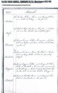 Liddell/Lees wed 1850