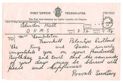1925 Telegram to Mrs Templeton