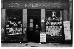 Late 1920s Jean McLean at her shop at Gardiner Place
