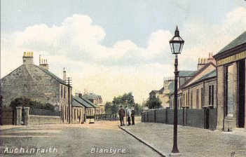 1910 Auchinraith, Main Street, High Blantyre colourised