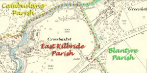 1898 Crossbasket Map showing 3 parishes meeting