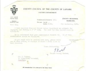 1966 Council charge for Blantyre bath
