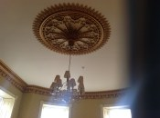 2014 The ornate ceiling rose and lamp at Crossbasket Castle