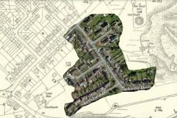 1936 Auchinraith Timber Houses overlaid on 1936 map