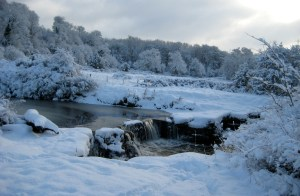 2010 Snow at Milheugh Falls. Shared by R Stewart