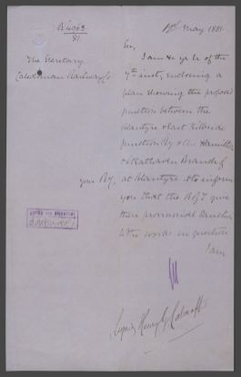 1881 Testimony of planned junction