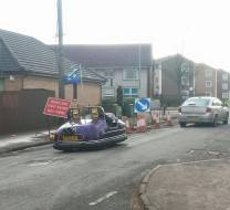 2015 Dodgem Car on Stonefield Road. Shared by Priory Inn