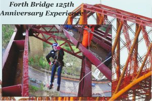 2015 Alex Abseiling on Forth Road Bridge (Feb)
