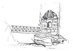 c1900 Hermit Hut Drawing by Pastor Walter Wilson of Baptist Church
