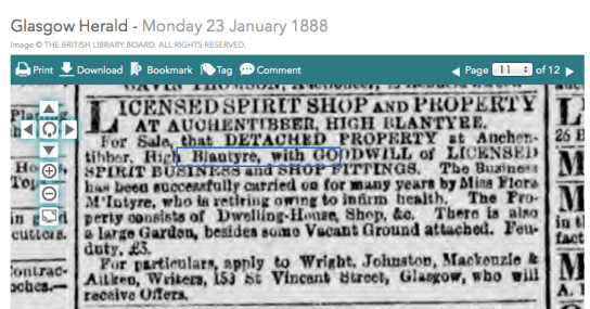 1888 Flora McIntyre tries to sell Auchentibber Inn