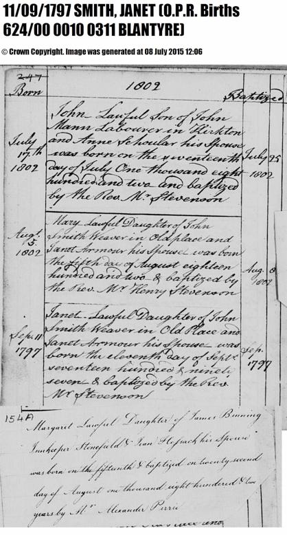 1797 Janet Smith birth record