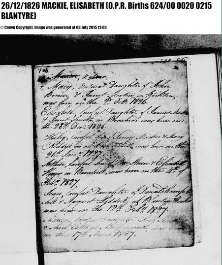 Elisabeth Mackie birth record 1826