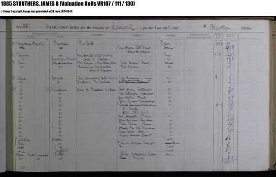 1885 Valuation roll showing Struthers at Priestfield