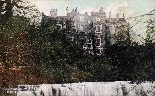 1920s Crossbasket Castle Postcard colourised (PV)