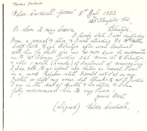 1923 Recommendation letter
