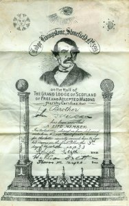 1930 John Duncan lifelong membership Lodge Livingstone