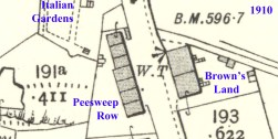 1910 Map Browns Land and Peesweep Row