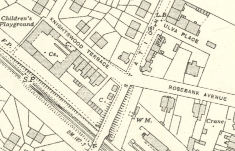 1936 Map showing George Stewart's Yard at the Village
