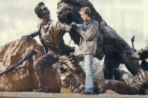 2004 April. Gareth Knowles opens the livingstone Lion statue.